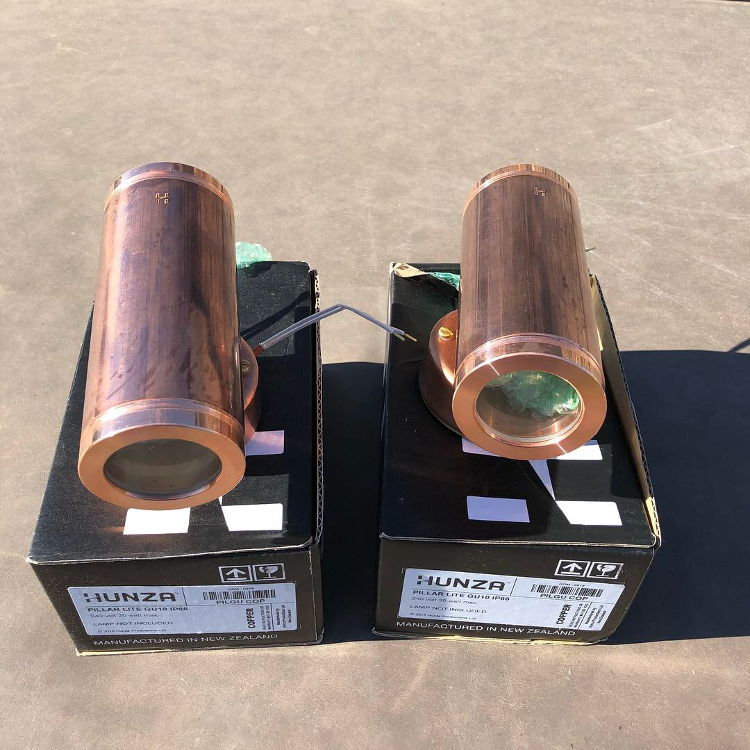 Image of two Pillar lights ready for installation