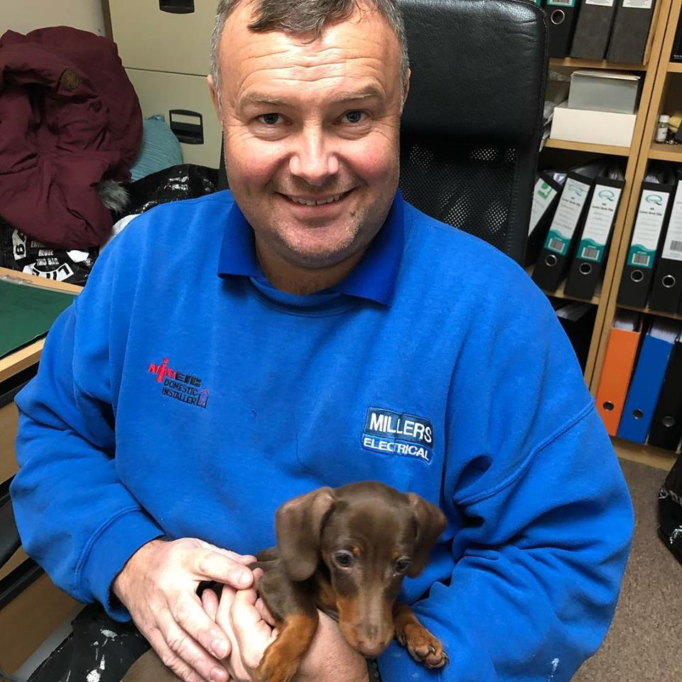 Owner of Millers Electrical in his uniform while holding a small puppy