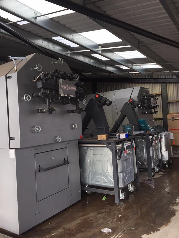 Biomass wood chip boiler installation job