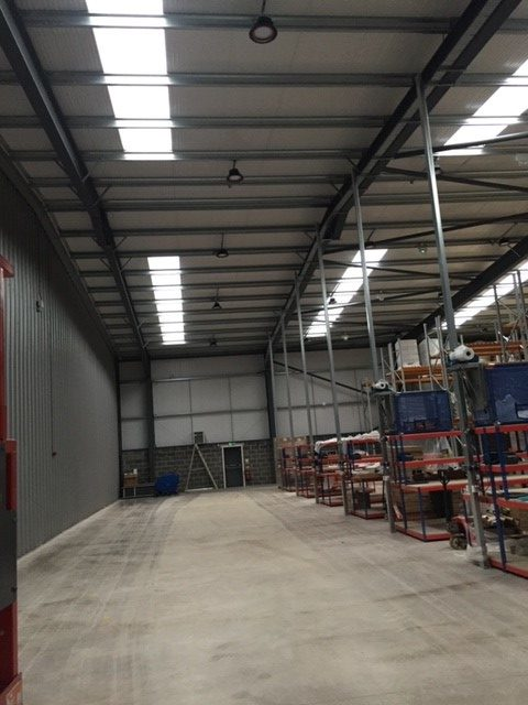 New lighting in warehouse