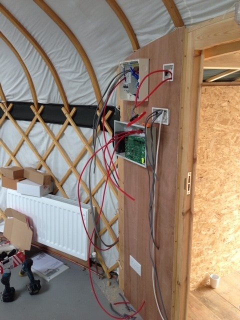 Electrical work in a yurt classroom